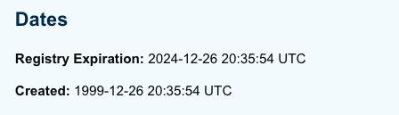 Date of renewal domain name
