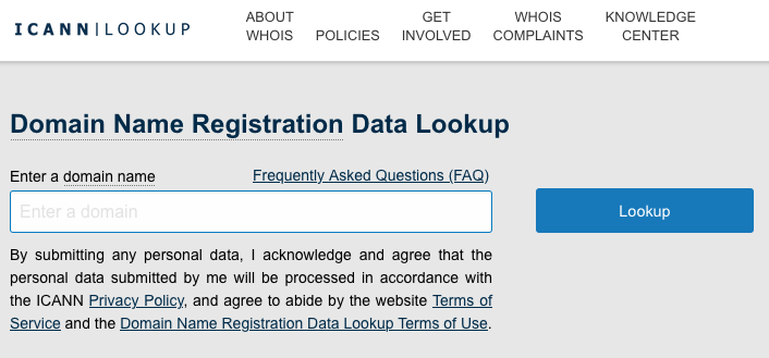 ICANN WHOis lookup