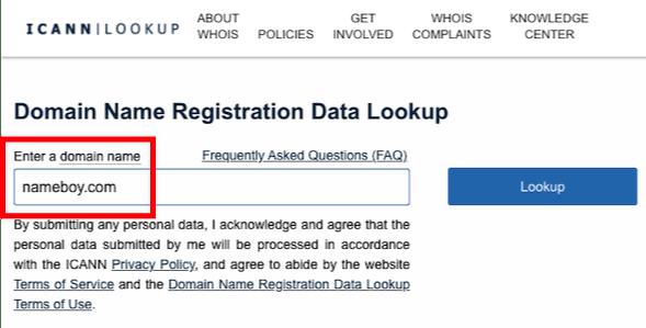 ICANN domain search