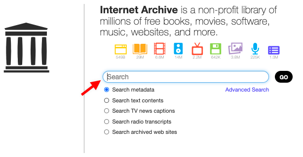 Search internet archive