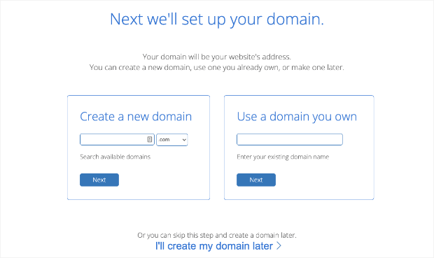create a new domain with bluehost